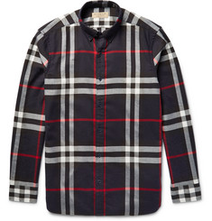 Burberry Brit Button-Down Collar Checked Cotton-Twill Shirt