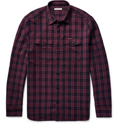 Burberry Brit Slim-Fit Checked Virgin Wool-Blend Shirt