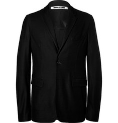 McQ Alexander McQueen Black Curtis Slim-Fit Unstructured Wool-Piqué Blazer