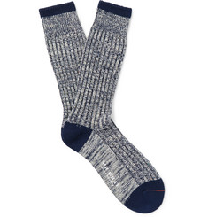 Mr. Gray Marled Stretch Cotton-Blend Socks