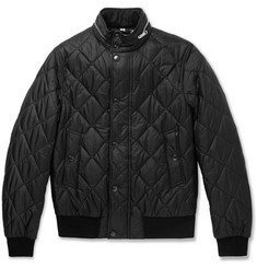 Burberry London Leather-Trimmed Quilted Shell Bomber Jacket