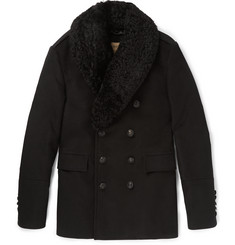 Burberry London Shearling-Trimmed Moleskin Peacoat