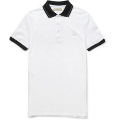 Burberry London Slim-Fit Two-Tone Cotton-Piqué Polo Shirt