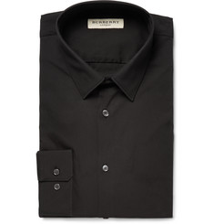 Burberry - Black London Slim-Fit Stretch Cotton-Blend Poplin Shirt