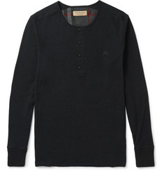 Burberry London Ribbed Cotton and Wool-Blend Henley T-Shirt