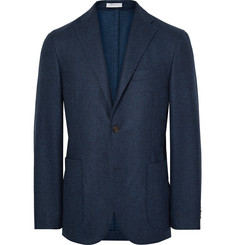 Boglioli Storm-Blue K-Jacket Slim-Fit Yarn-Dyed Wool Blazer