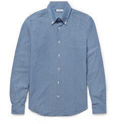 Boglioli Slim-Fit Button-Down Collar Cotton-Chambray Shirt