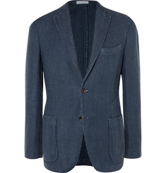Boglioli Navy Houndstooth Linen and Cotton-Blend Blazer