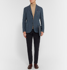 Boglioli - Navy Houndstooth Linen and Cotton-Blend Blazer