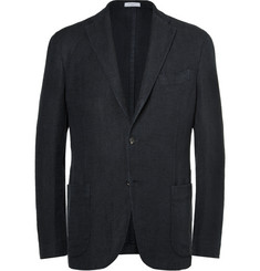 Boglioli Navy Slim-Fit Checked Linen and Cotton-Blend Blazer
