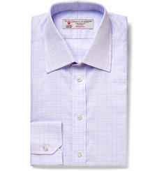 Turnbull & Asser Lilac Slim-Fit Checked Cotton Shirt