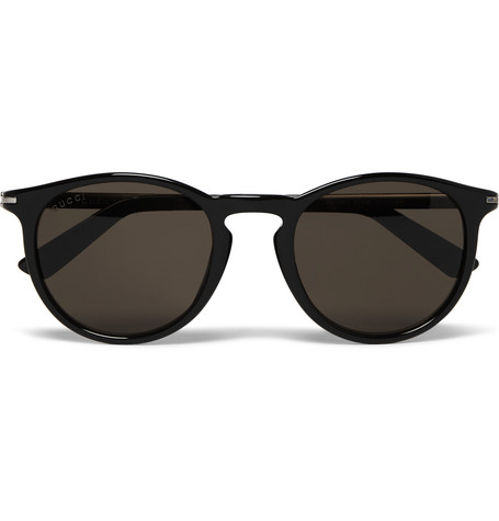 gucci male gucci roundframe acetate sunglasses black