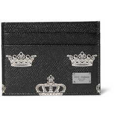 Dolce & Gabbana Crown-Print Pebble-Grain Leather Cardholder