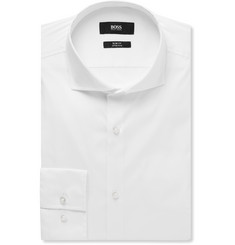 Hugo Boss - White Jason Slim-Fit Cutaway-Collar Stretch Cotton-Blend Shirt