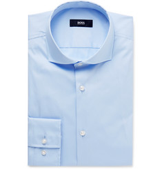 Hugo Boss - Blue Jason Slim-Fit Cutaway-Collar Cotton-Blend Shirt
