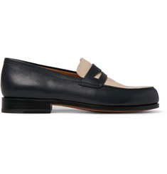 Maison Kitsuné Two-Tone Grained-Leather Penny Loafers