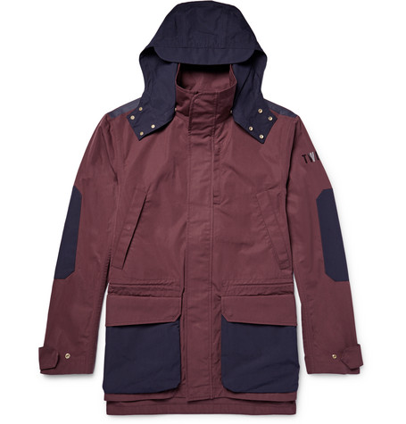 Hooded Two-tone Cotton-canva Jacket
