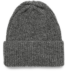 The Workers Club Ribbed Mélange Merino Wool Beanie