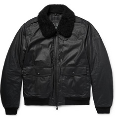 Belstaff Mortimer Shearling-Trimmed Waxed-Cotton Bomber Jacket