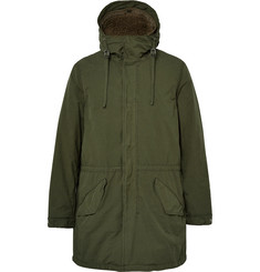 Aspesi - Faux Shearling-Lined Brushed-Shell Hooded Parka