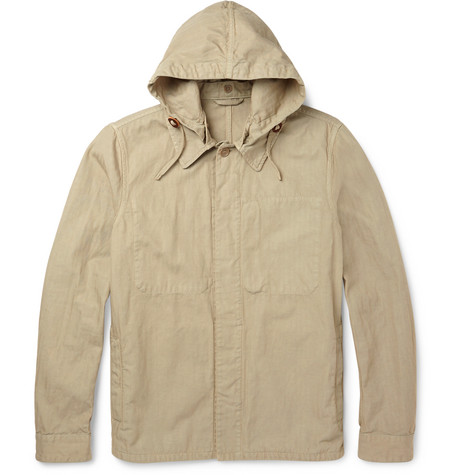 Cotton And inen-bend Hooded Jacket