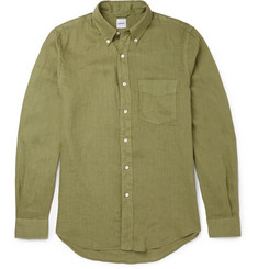 Aspesi Slim-Fit Button-Down Collar Linen Shirt