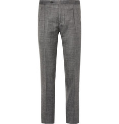 Thom Sweeney - Grey Slim-Fit Wool, Silk and Linen-Blend Trousers