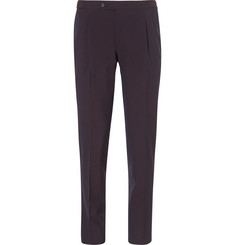Thom Sweeney - Burgundy Slim-Fit Wool and Silk-Blend Seersucker Suit Trousers