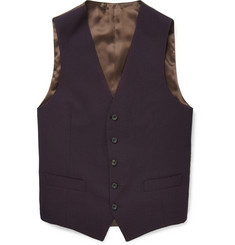 Thom Sweeney Burgundy Wool and Silk-Blend Seersucker Waistcoat