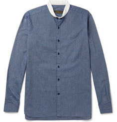 Freemans Sporting Club Grandad-Collar Striped Cotton Shirt