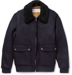 Private White V.C. - Shearling-Trimmed Melton Wool Bomber Jacket