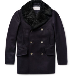 Private White V.C. Manchester Slim-Fit Shearling-Trimmed Melton Wool Peacoat