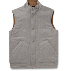 Private White V.C. Padded Checked Wool and Cashmere-Blend Gilet