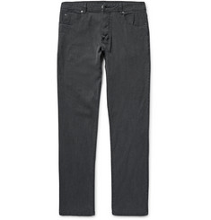 James Perse Garment-Dyed Stretch Cotton and Linen-Blend Trousers