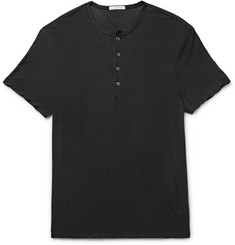 James Perse Slim-Fit Cotton and Linen-Blend Jersey Henley T-Shirt