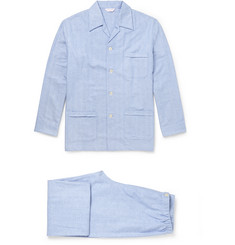 Derek Rose Arran Herringbone Brushed-Cotton Pyjama Set