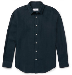 AMI Button-Down Collar Linen Shirt