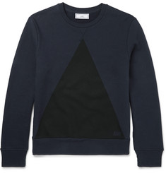 AMI Printed Loopback Cotton-Jersey Sweatshirt