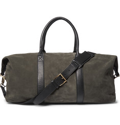 AMI Leather-Trimmed Suede Holdall