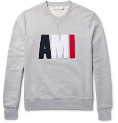 AMI Terry-Embroidered Loopback Cotton-Jersey Sweatshirt