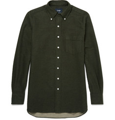 Drake's - Button-Down Collar Brushed-Cotton Shirt