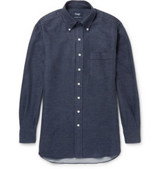 Drake's Button-Down Collar Cotton-Flannel Shirt