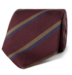Drake's 8cm Striped Silk-Faille Tie