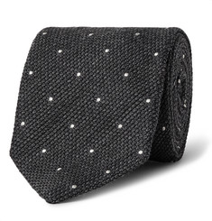 Drake's 8cm Polka-Dot Wool and Silk-Blend Tie