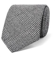 Drake's 8cm Prince of Wales Checked Wool and Cashmere-Blend Tie