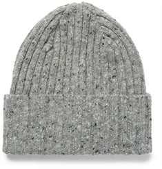Drake's Ribbed Mélange Lambswool Beanie