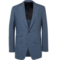 Thom Sweeney - Blue Slim-Fit Linen-Chambray Blazer