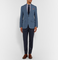 Thom Sweeney Blue Slim-Fit Linen-Chambray Blazer