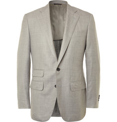 Thom Sweeney Grey Slim-Fit Slub Wool, Silk and Linen-Blend Blazer