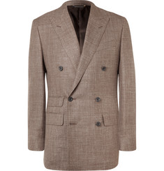 Thom Sweeney - Brown Slim-Fit Double-Breasted Slub Wool, Silk and Linen-Blend Blazer